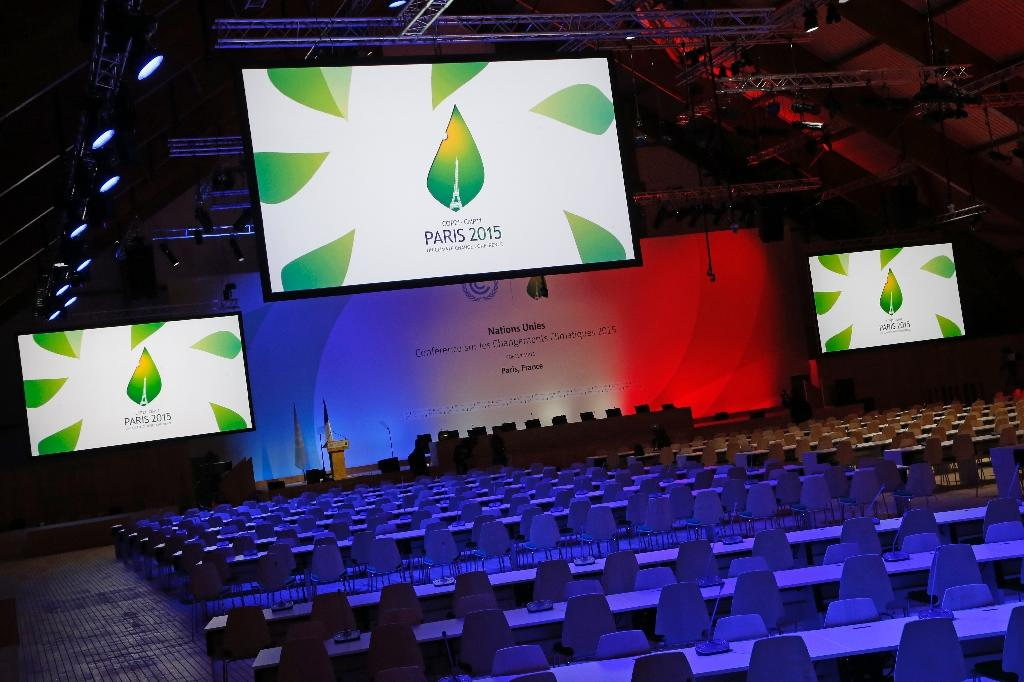 The conference room of the COP21, the UN Conference on Climate Change, is pictured at the COP21 conference center in Le Bourget, north of Paris, on November 28, 2015 (AFP Photo/Thomas Samson)