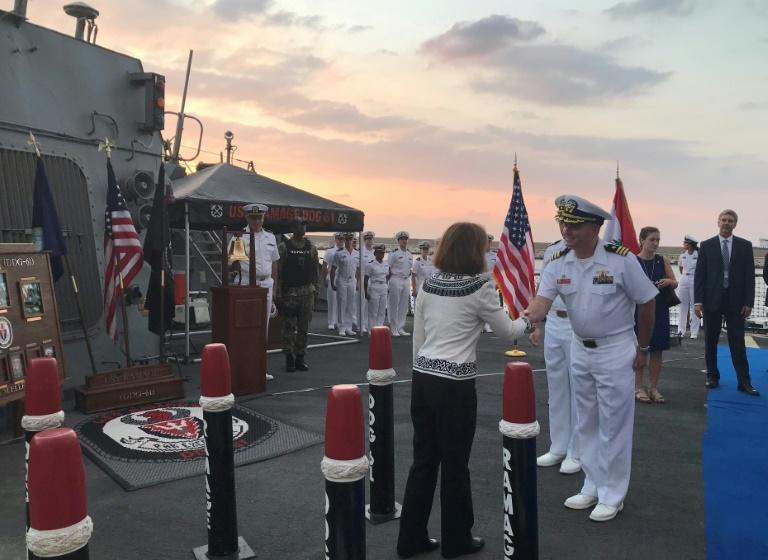 US Ambassador to Lebanon Elizabeth Richard and Vice Admiral James Malloy hosted a reception for US and Lebanese officials on board the destroyer USS Ramage while it was docked at Beirut's port