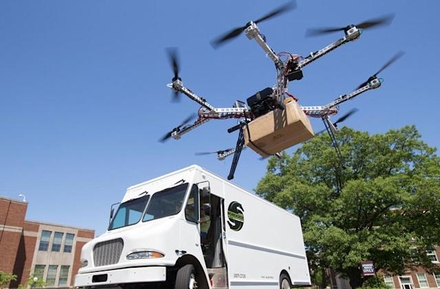 Truck firm wants to deploy delivery drones on the move