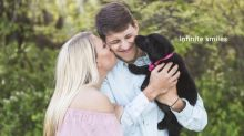 Couple welcomes puppy to family with paw-dorable sex reveal photo shoot