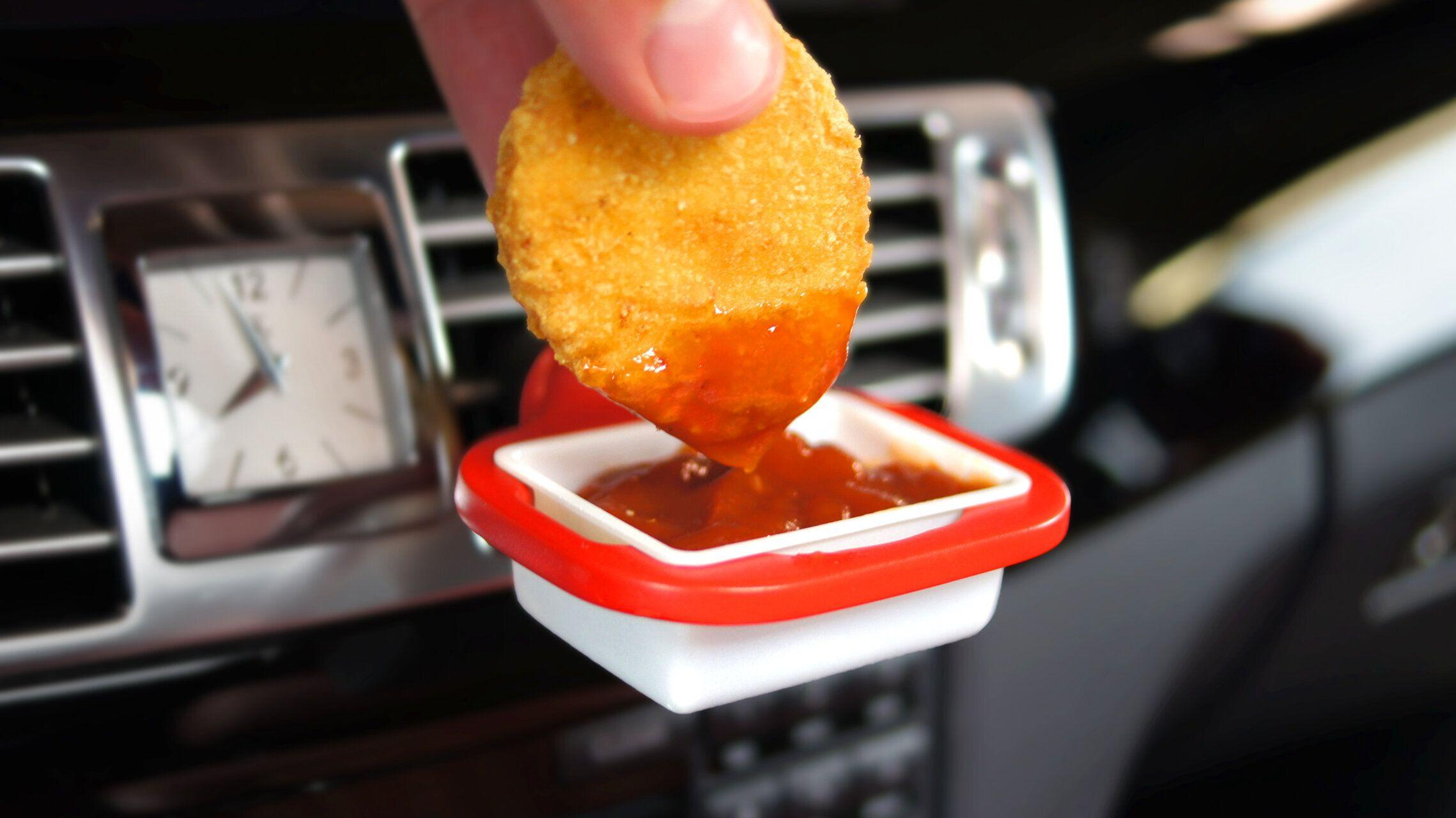 It's the new age of nugs: This genius gizmo clips to your car vent for dipping on the go