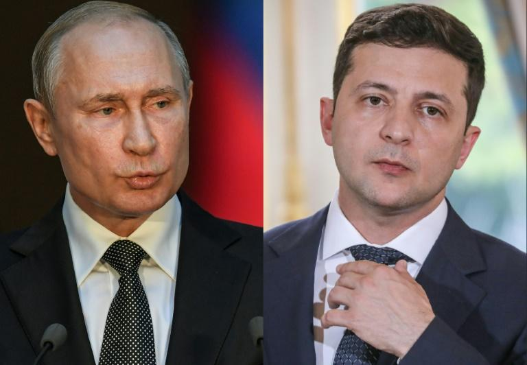 Zelensky (R) is gearing up to hold his first summit with Putin (L) in an effort revive a stalled peace process to end the five-year separatist conflict in eastern Ukraine