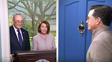 Chuck Schumer And Nancy Pelosi Crash Stephen Colbert's Super Bowl Party