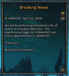 Maintenance for Tuesday April 21st