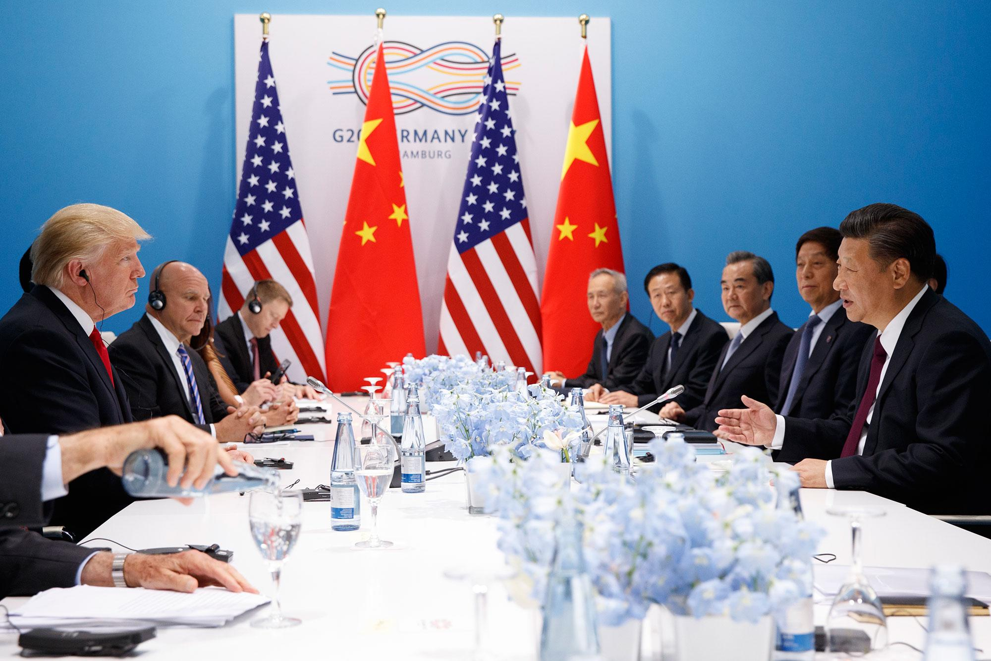 <p>President Donald Trump meets with Chinese President Xi Jinping at the G20 Summit, Saturday, July 8, 2017, in Hamburg, Germany. (Photo: Evan Vucci/AP) </p>