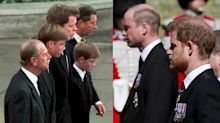 William and Harry walk apart behind Philip's coffin – 23 years after walking behind Diana's
