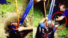 Firefighters rescue dog trapped in abandoned well