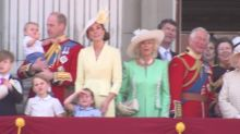 Adorable Prince Louis waves at planes during Trooping the Colour flypast