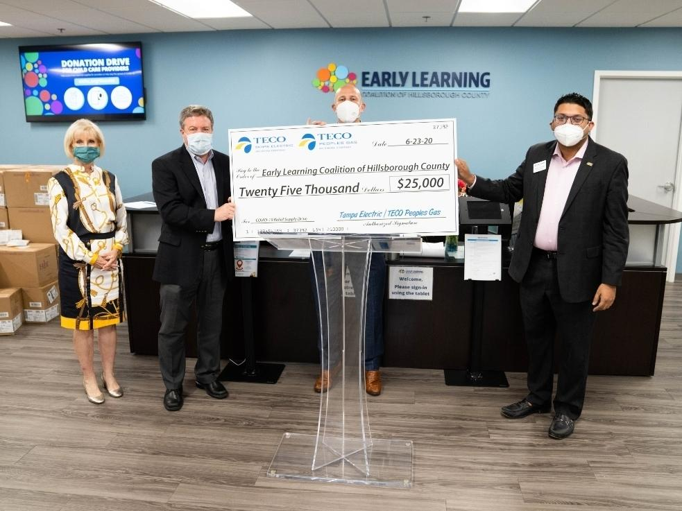 From right are County Commissioner Sandy Murman, Vice President of TECO People Gas Luke Buzard, ELCHC Chief Executive Officer Gordon Gillette and ELCHC Chairman Aakash Patel.