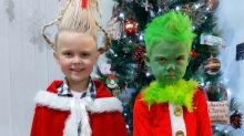 Thrifty mum makes brilliant Grinch-inspired Christmas costumes on a £7 budget