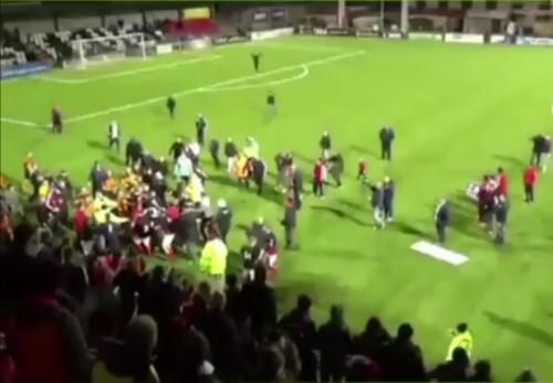 VIDEO: Huge brawl erupts as team celebrate trophy win