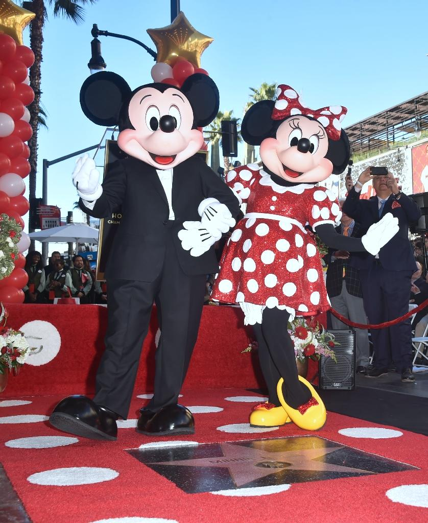Mickey, who was dapper in a tuxedo, received his Hollywood star in 1978 (AFP Photo/FREDERIC J. BROWN)