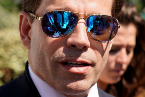 White House communications director Anthony Scaramucci talks to the media outside the White House on Tuesday.