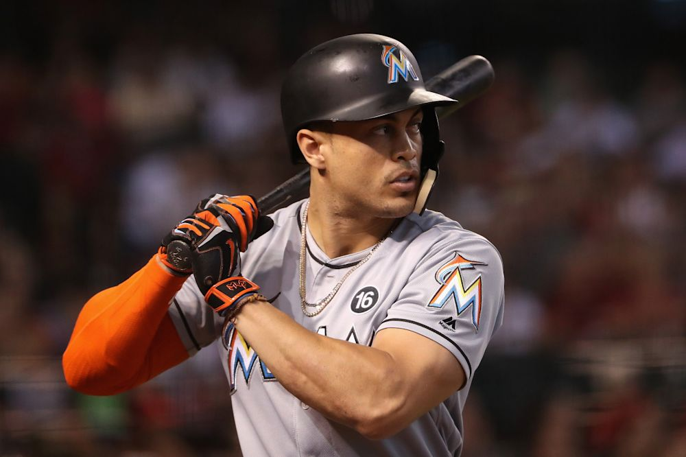 Giancarlo Stanton could be the second reigning MVP traded since Alex Rodriguez. (AP)