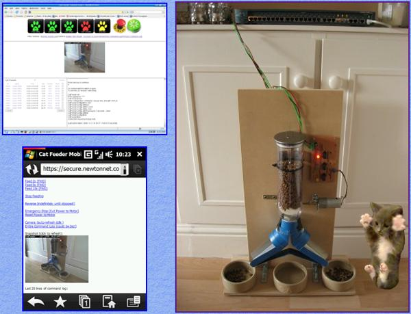 DIY cat feeder now enabled by a Cisco switch, streams food and video