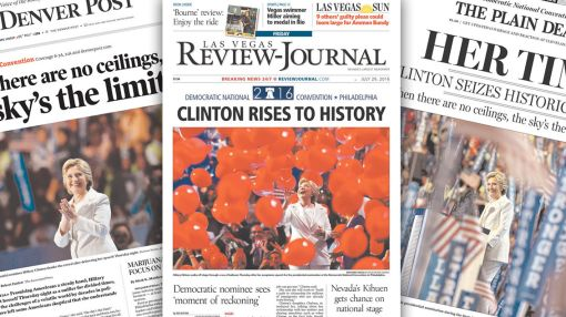 Clinton rises to history in the newspapers on final day of the DNC