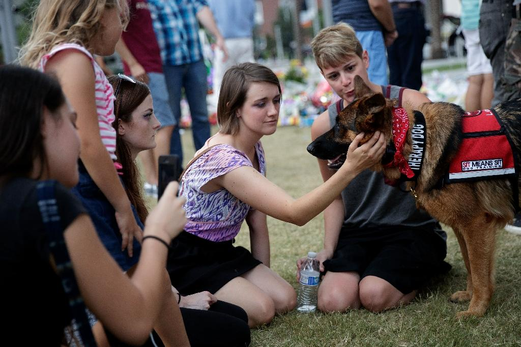 A group of young women pet a therapy dog near a memorial for the victims of the Pulse Nightclub shooting, June 15, 2016 in Orlando, Florida (AFP Photo/Drew Angerer)