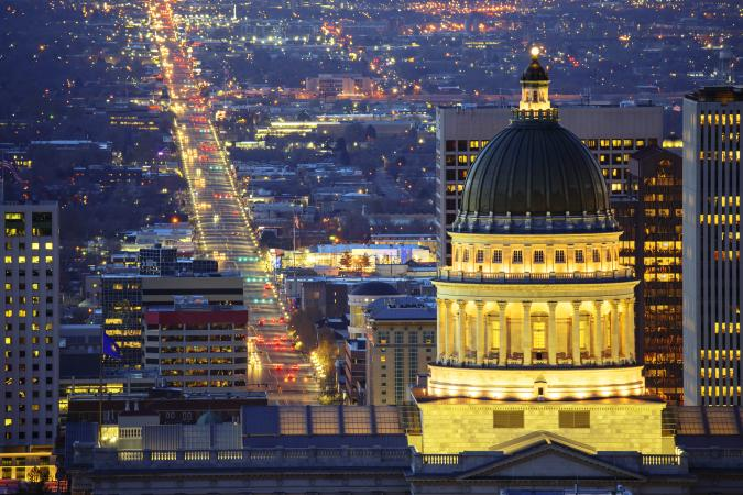 Salt Lake City and parliamentary building in evening hour