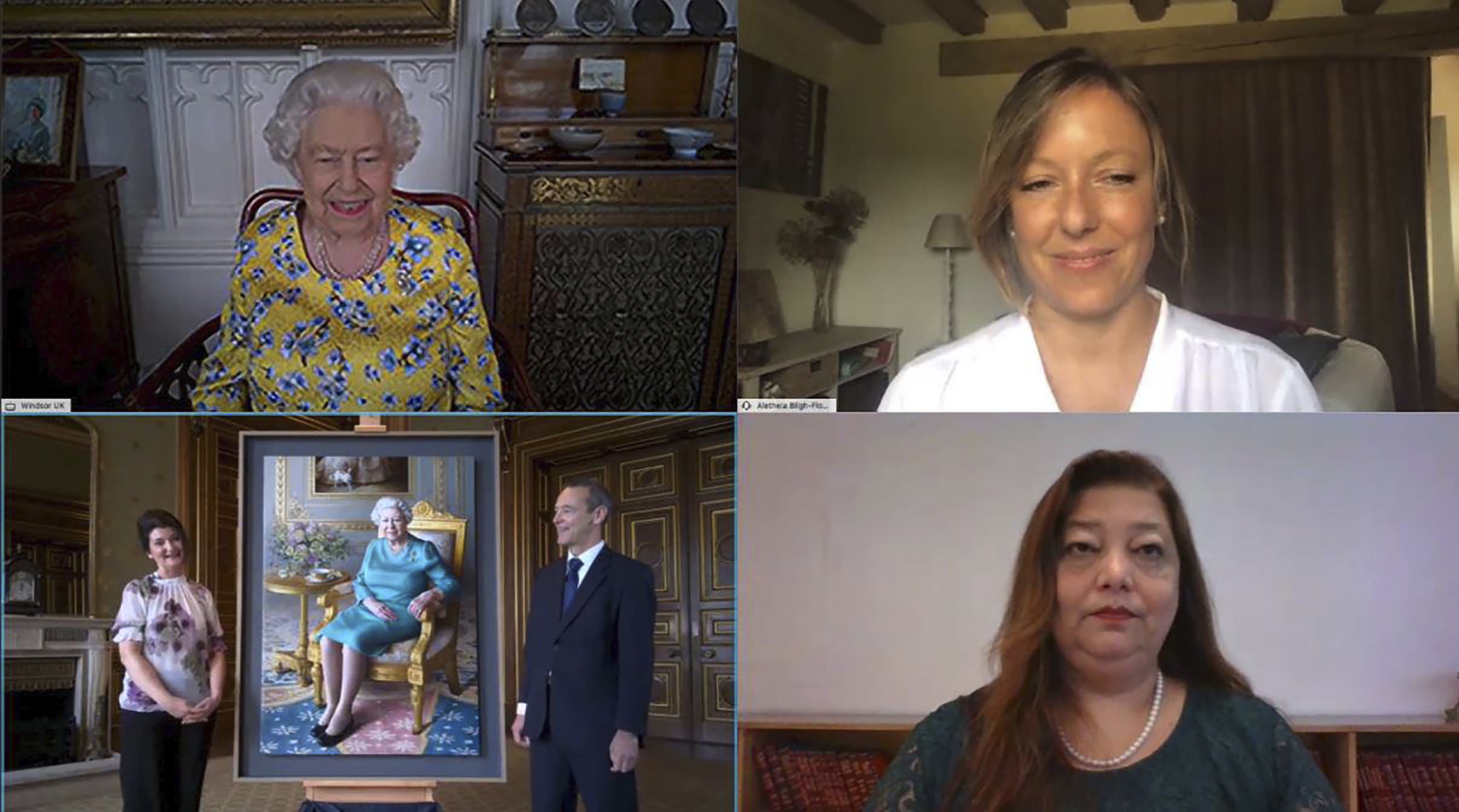 Queen jokes about empty tea cup as she attends virtual portrait unveiling