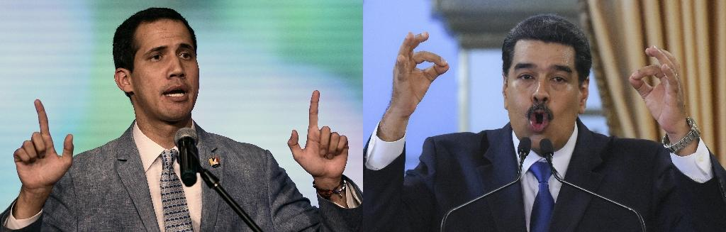 (COMBO) This combination of pictures created on February 09, 2019 shows the president of Venezuela's National Assembly and self-proclaimed acting president Juan Guaido (L) and Venezuelan President Nicolas Maduro (R) delivering speeches in Caracas on February 8, 2018. Opposition leader Juan Guaido is challenging President Nicolas Maduro for control of crisis-hit Venezuela, a country plagued by hyperinflation, shortages of basic necessities and rampant violence
