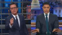 Stephen Colbert, Trevor Noah take shots at CNN following Democratic debate