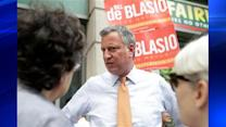 Bill de Blasio on the defensive over issue of third term for Bloomberg