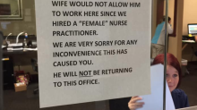 Patient slams 'unprofessional' sign claiming doctor quit practice over female nurse practitioner