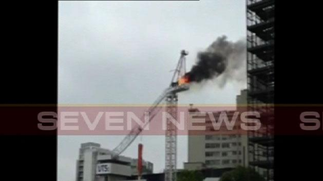 Crane collapses at construction site