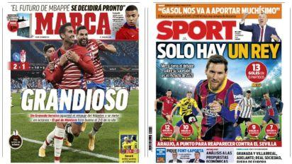 La gesta del Granada y el pichichi Messi, en las portadas de los diarios españoles