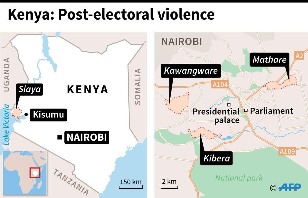 Map shows where post-electoral violence has broken out; the Nairobi neighbourhoods of Mathare, Kawangware and Kibera, the city of Kisumu and the southwestern Siaya province (AFP Photo/Paz PIZARRO)