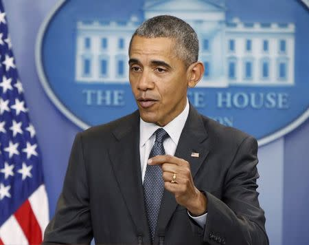 U.S. President Barack Obama delivers remarks on economy in the White House briefing room in Washington