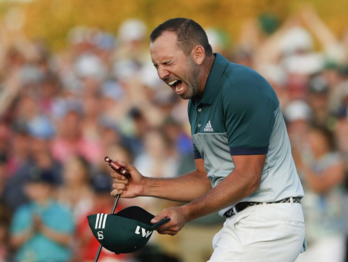 Sergio Garcia celebrates after winning the 2017 Masters. (AP)