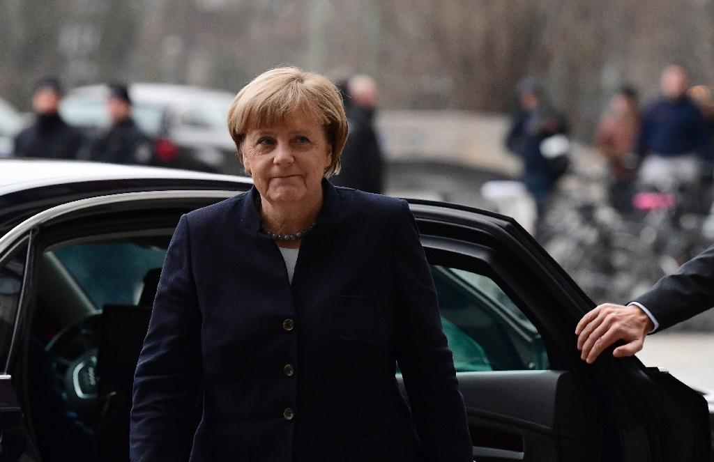 German Chancellor Angela Merkel arrives on December 22, 2016 at the Berlin offices of the Federal Criminal Police (BKA) (AFP Photo/Tobias Schwarz)