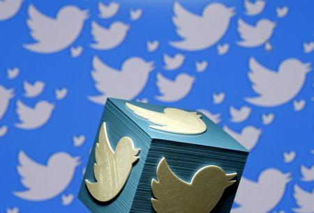A 3D-printed logo for Twitter is seen in this picture illustration made in Zenica