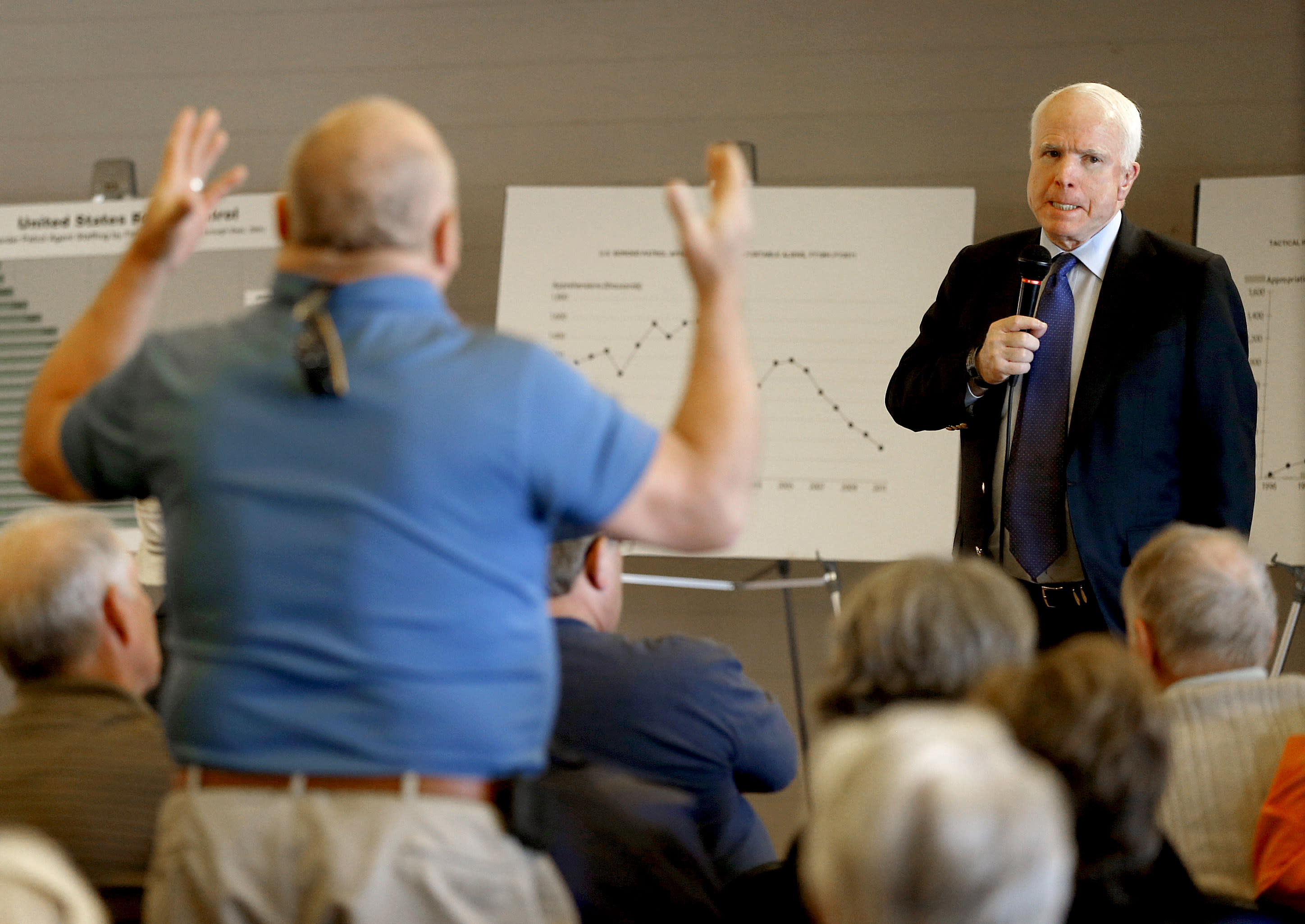 U.S. Sen. John McCain, R-Ariz., listens to a question during a town hall, Tuesday, Feb. 19, 2013, in Sun Lakes, Ariz. McCain defended his proposed immigration overhaul to an angry crowd in suburban Arizona in the latest sign that this border state will play a prominent role in the national immigration reform debate. (AP Photo/Matt York)