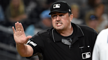 Pitcher nearly throws ball in the dirt, but umpire Lance Barrett still called it a strike