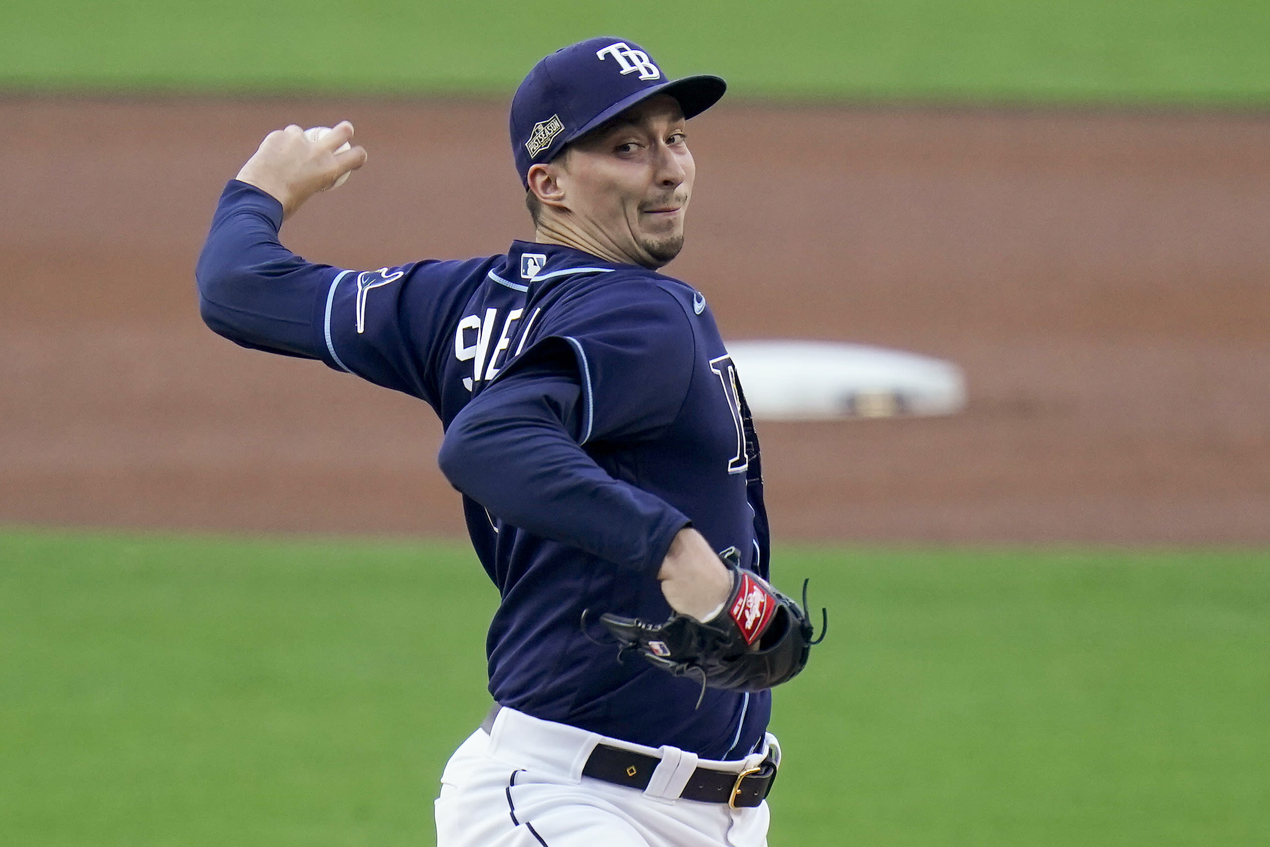 Tampa Bay Rays pitcher Blake Snell delivers against the New York Yankees during the first inning in Game one of a baseball American League Division Series, Monday, Oct. 5, 2020, in San Diego. (AP Photo/Jae C. Hong)