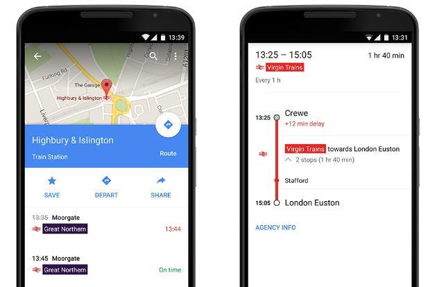 Google Maps will now warn you about UK train delays