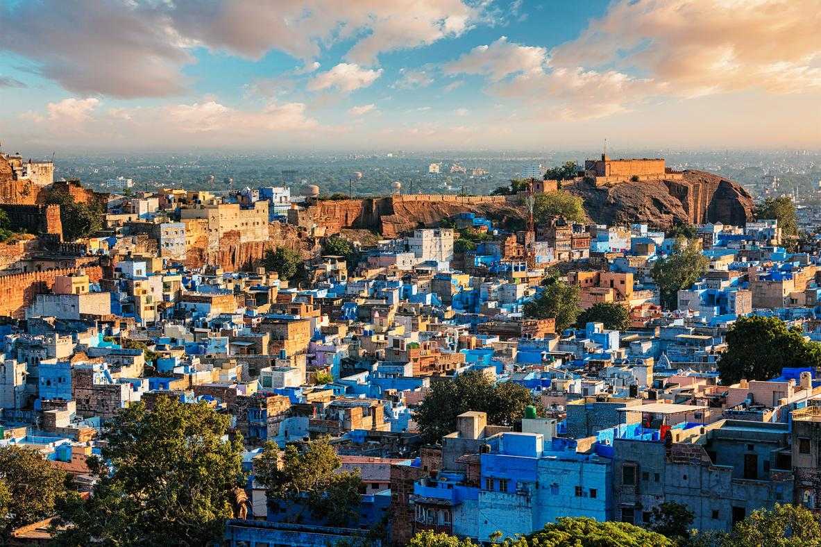 """<p>Jodhpur is probably best known for the electric blue colour of its buildings. Jodphur sits in the middle of a staggering 10km long, 16th century wall that encloses the city.The blue colour was traditionally used for the homes of Brahmin but that's not the case any longer as others joined in.</p>  <p>TripAdvisor recommends a night in the <a href=""""https://www.tripadvisor.com/Hotel_Review-g297668-d307185-Reviews-Ratan_Vilas-Jodhpur_Rajasthan.html"""" target=""""_blank"""">Ratan Vilas</a>, bookable for £60 per night.</p>"""