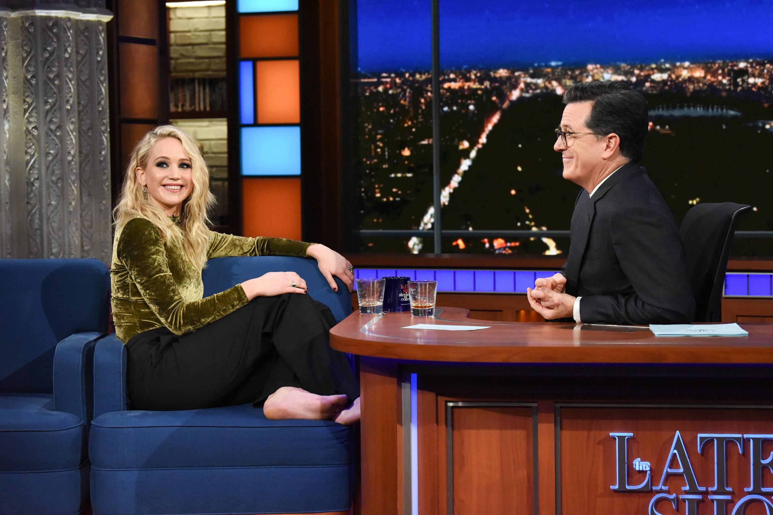 NEW YORK - FEBRUARY 26: The Late Show with Stephen Colbert and guest Jennifer Lawrence during Monday's February 26, 2018 show. (Photo by Scott Kowalchyk/CBS via Getty Images)