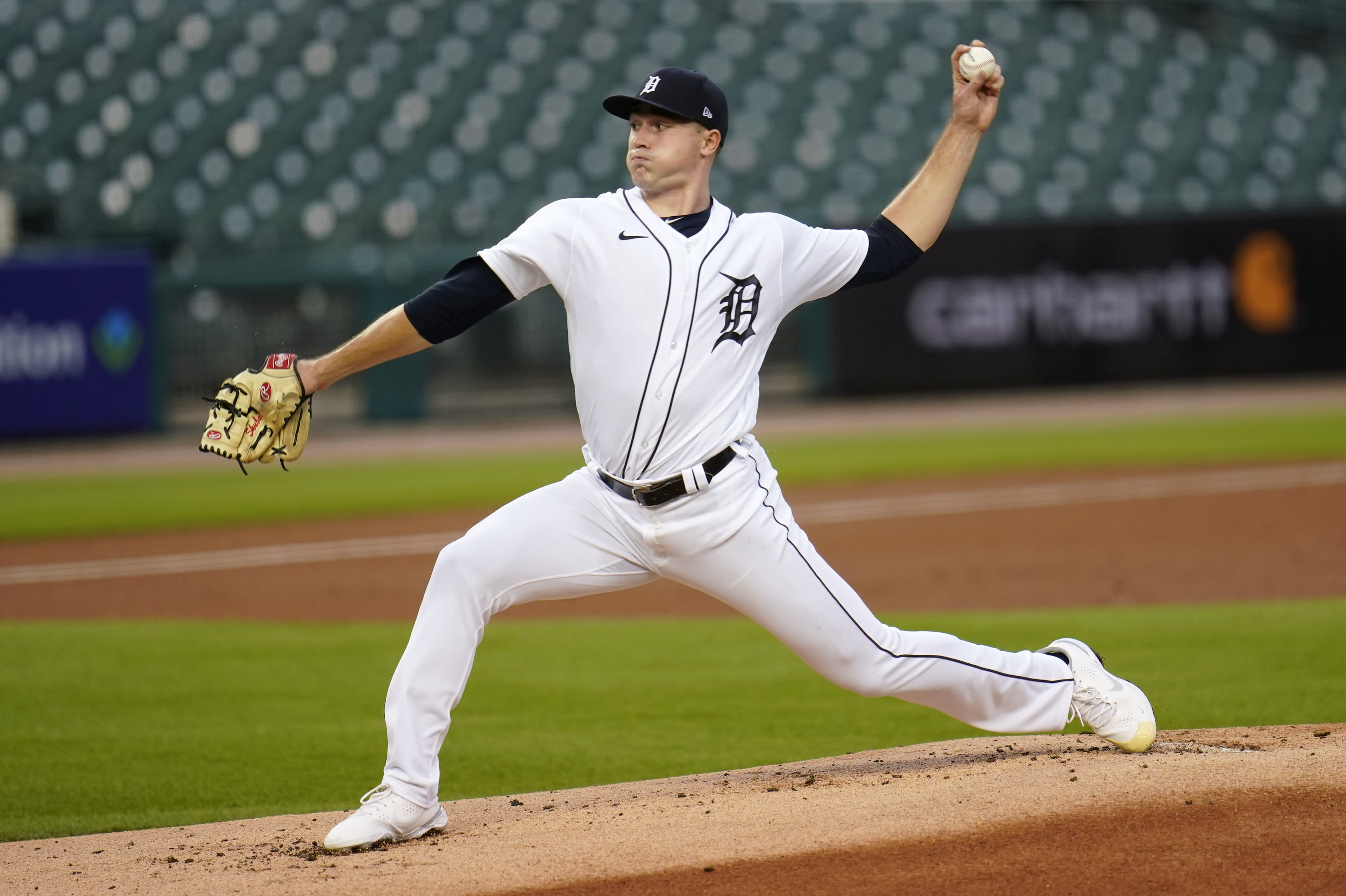 Detroit Tigers pitcher Tarik Skubal throws against the Kansas City Royals in the first inning of a baseball game in Detroit, Wednesday, Sept. 16, 2020. (AP Photo/Paul Sancya)