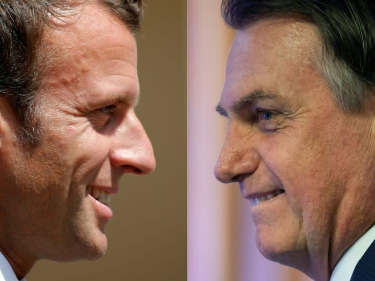 "Macron (L) and Bolsonaro (R): ""As far as ideas go, the two men are polar opposites,"" said Gaspard Estrada, director of the Latin America and Caribbean unit at Sciences-Po university in Paris. (AFP Photo/CHARLES PLATIAU, MAURO PIMENTEL)"