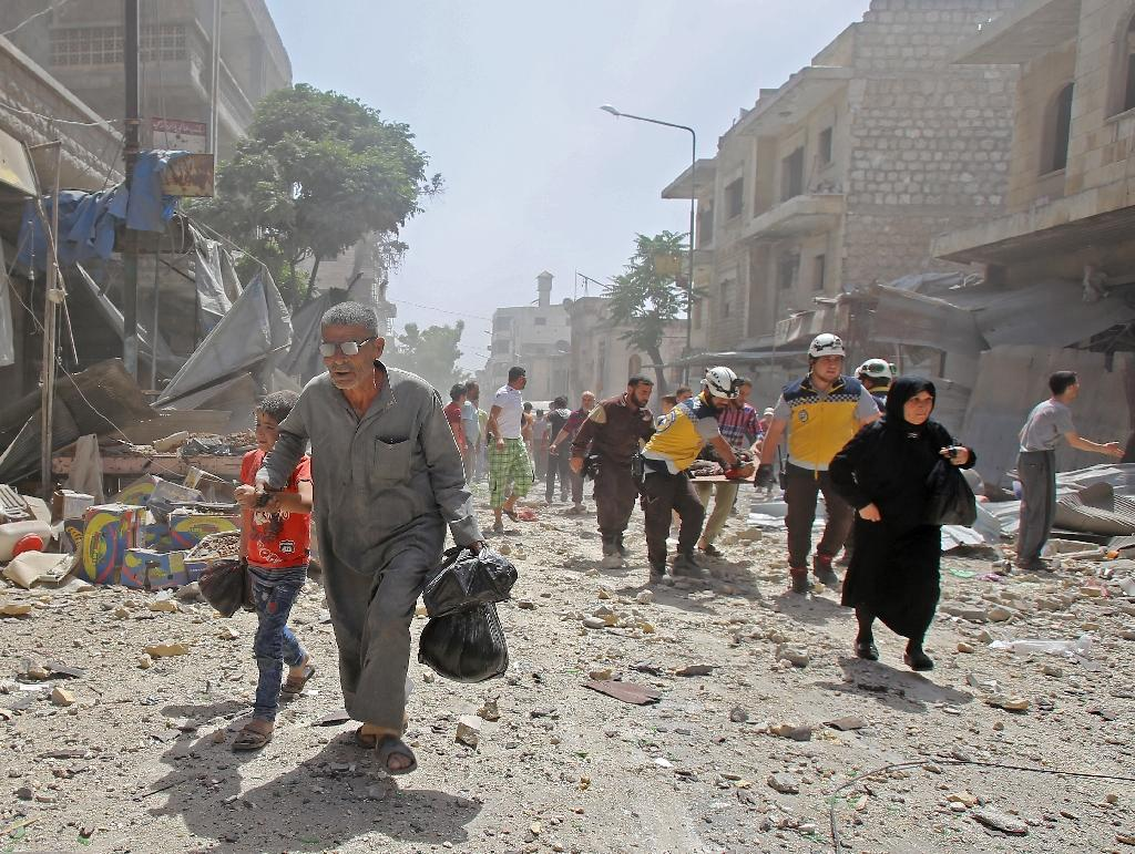 The Idlib province town of Maaret al-Numan has been repeatedly hit by air strikes since the Syrian government and its ally Russia stepped up their bombardment of the jihadist-held northwest in late April