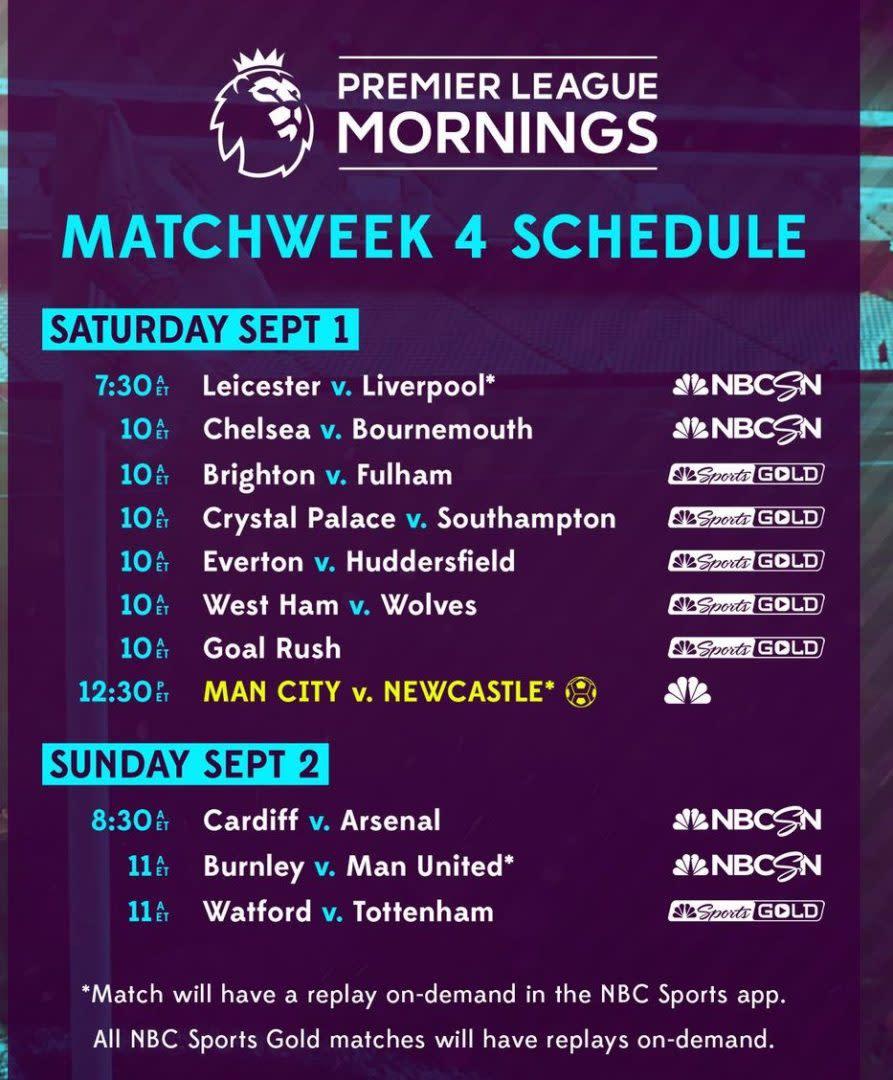 premier league tv schedule: week 4