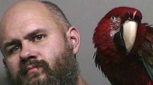 Macaw poses in man's mug shot after unlucky court appearance