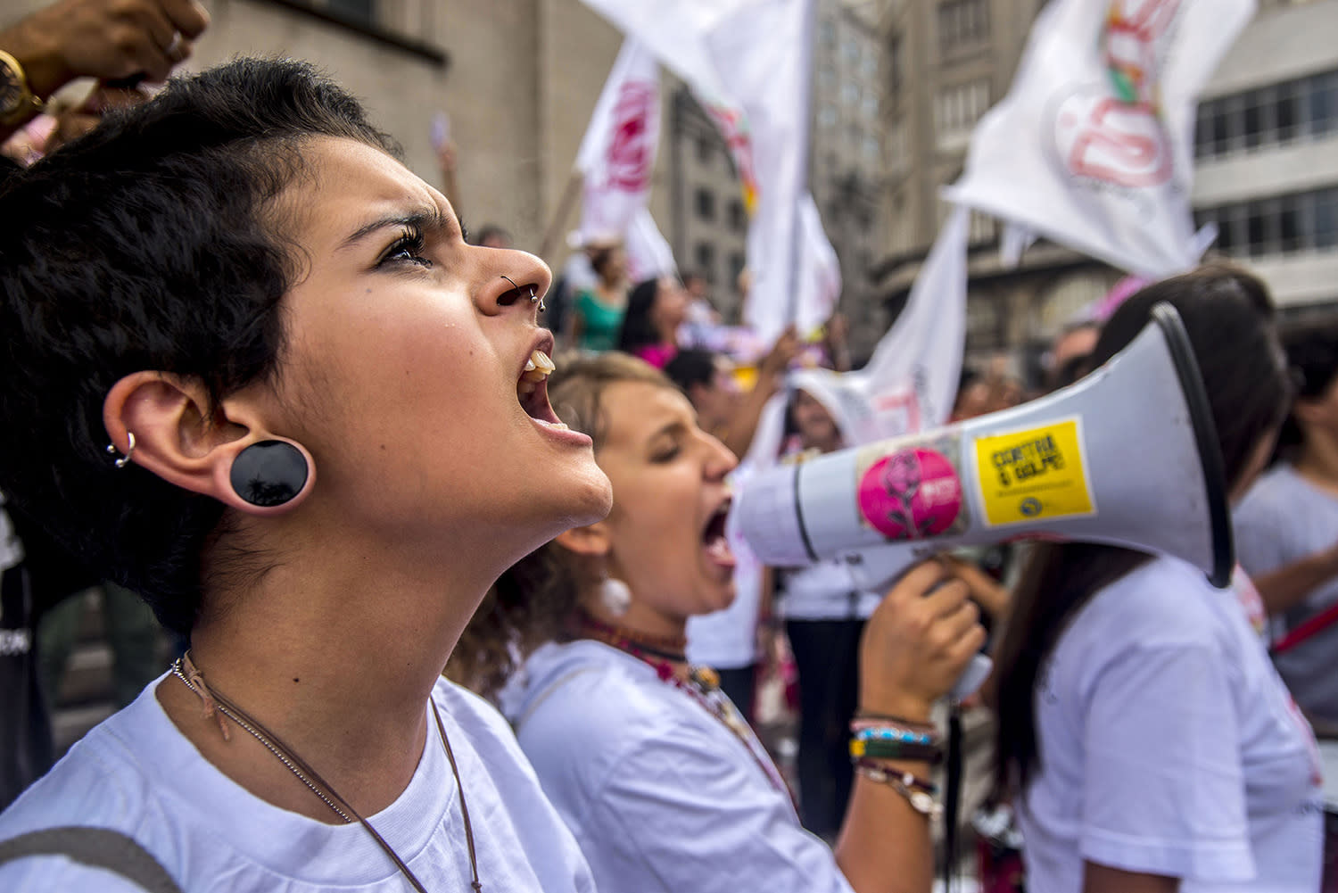 <p>A woman shouts during a protest commemorating the International Women's Day on March 8, 2017 in Sao Paulo, Brazil. (Cris Faga/LatinContent/Getty Images) </p>