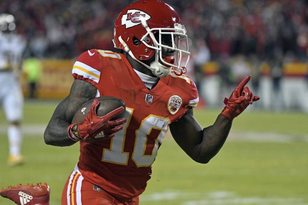 Chiefs wide receiver Tyreek Hill has twice as many 40-yard touchdown catches this season as any other NFL player. (AP)