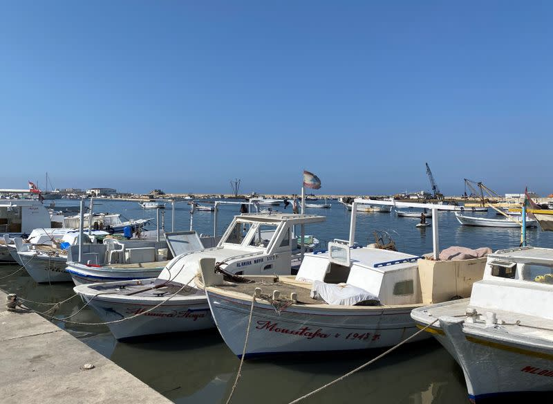 Boats are seen parked in Tripoli