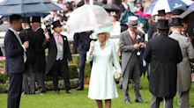 Camilla struggles with umbrella at Royal Ascot as the Queen braves the rain