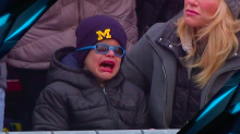 Young Michigan fan believed to be Jim Harbaugh's son devastated by Wisconsin TD